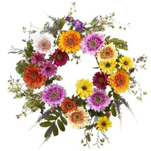 Nearly Natural 26 in. African Sunflower Wreath