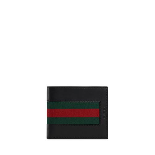 GUCCI Web Leather Bi-Fold Wallet, Black