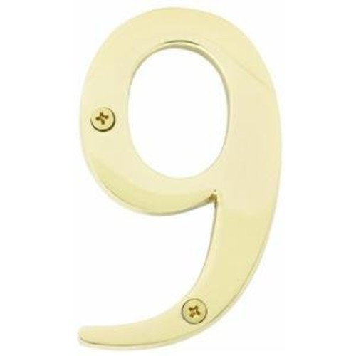 House Number- 4 Inches Solid Brass #9