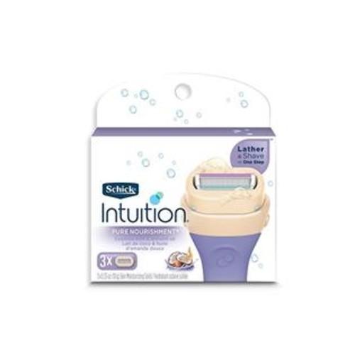 Schick Intuition Pure Nourishment Moisturizing Razor Blade Refills For Women With Coconut Milk And Almond Oil - 3 Count