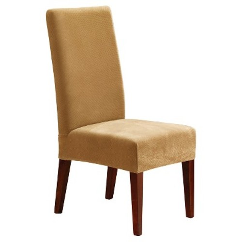 Sure Fit Stretch Pique Short Dining Room Chair Slipcover in Antique