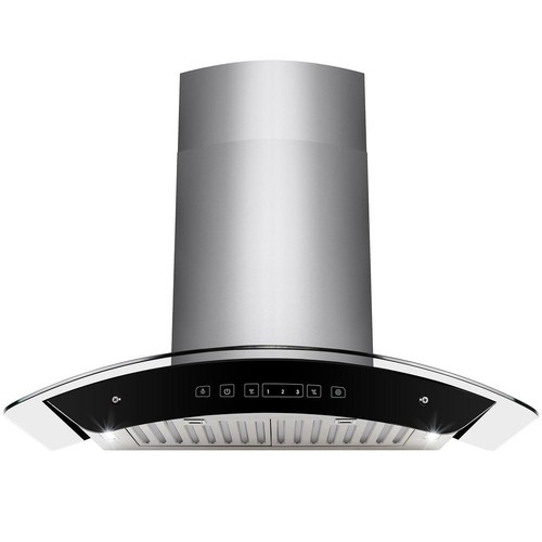 AKDY 30 in. Convertible Kitchen Wall Mount Range Hood in Stainless Steel Tempered Glass with Touch Control