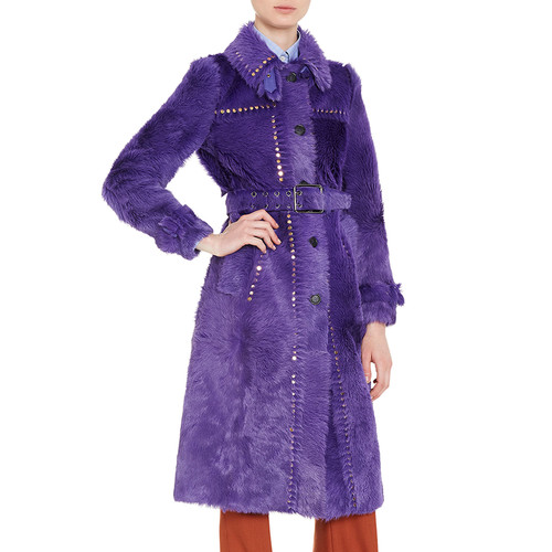 PRADA Studded Shearling Fur Trenchcoat, Purple