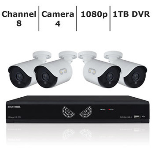 Night Owl 8-Channel 4-Camera 1080p Security System with 1TB HD DVR