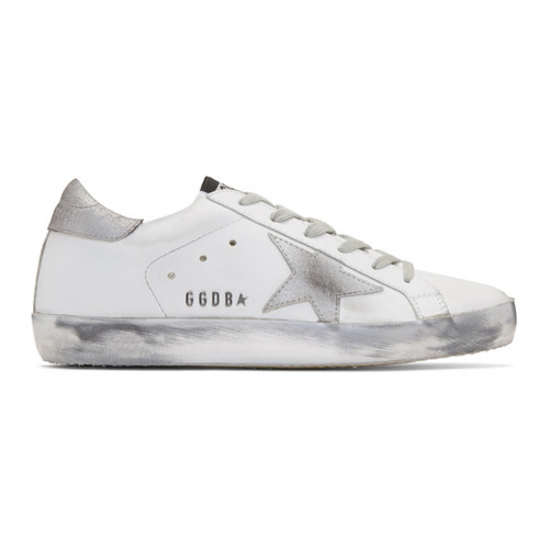 GOLDEN GOOSE White & Silver Superstar Sneakers