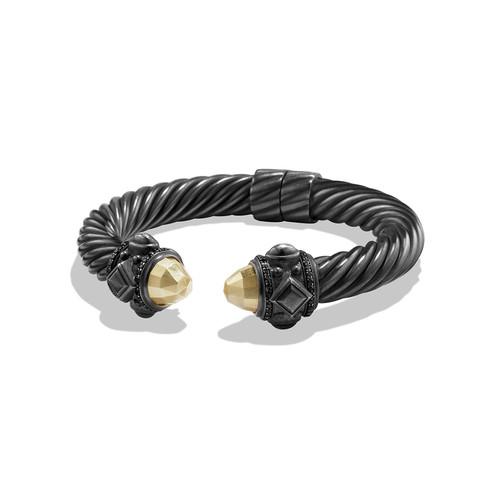 Renaissance Bracelet with Gold Dome and Black Diamonds