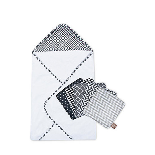 Trend Lab Ombre Gray Bouquet Hooded Towel and Wash Cloth Set