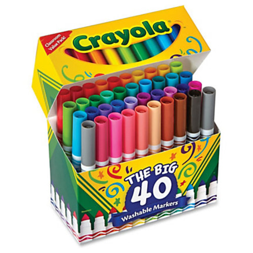 Crayola 40 Count Ultra-Clean Washable Broad Line Markers - Conical Point Style - Assorted - 40 / Set