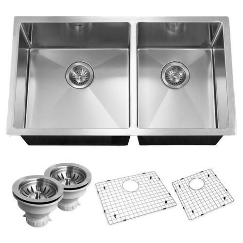 HOUZER Savoir Series Undermount Stainless Steel 32 in. Double Bowl Kitchen Sink, Satin Brushed