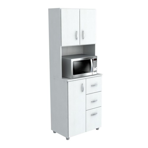 Inval Storage Cabinet With Microwave Stand, 4 Shelves, 66