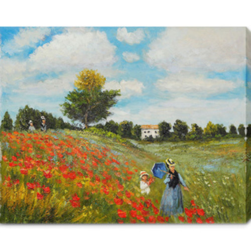Claude Monet 'Wild Poppies Near Argenteuil' Black Framed Canvas Wall Art [option : 11 x 14 inches black frame]