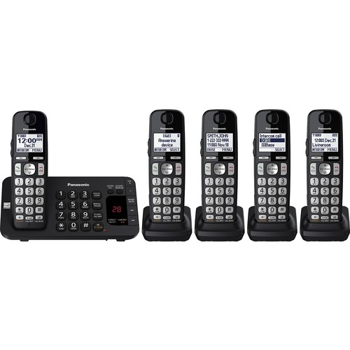Panasonic - KX-TGE445B DECT 6.0 Expandable Cordless Phone System with Digital Answering System - Black