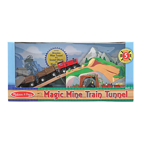 Melissa & Doug Magic Mine Train Tunnel Wooden Train Accessory Set With Sound Effects (5 pcs)