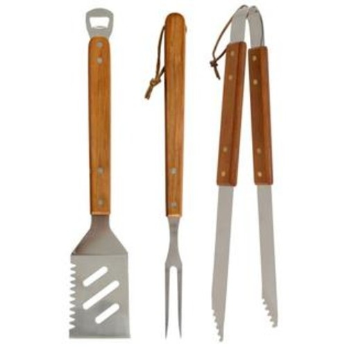 Mr. Bar-B-Q 3 PC STAINLESS STEEL NESTED TOOL SET Includes: 4-in-1 Spatula, Tongs, & Fork 02295XNST