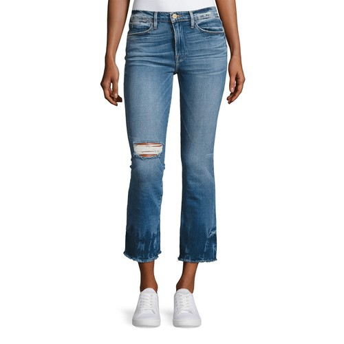 FRAME Le High-Rise Straight Raw-Edge Faded Jeans, Meriweather