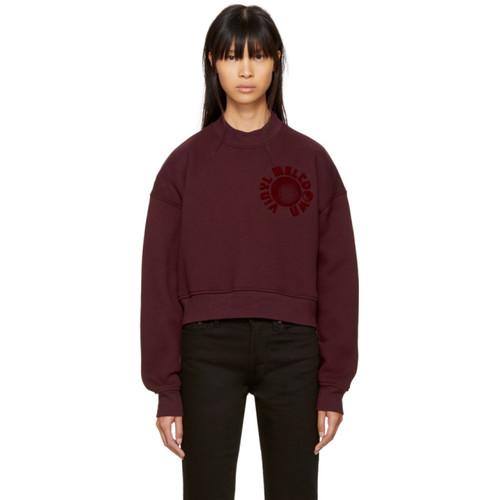ALEXANDER WANG Burgundy Oversized Cropped 'Vinyl Meltdown' Sweatshirt