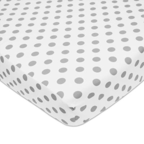 American Baby Company Polka Dot Cotton Fitted Crib Sheet in Grey/White