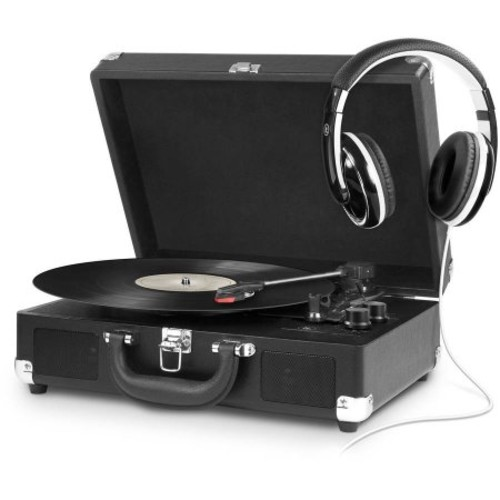 Victrola 3-Speed Bluetooth Portable Suitcase Turntable in Black