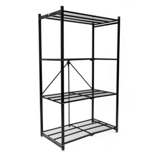 Pop It 4-Tier Steel Foldable Shelf in Black