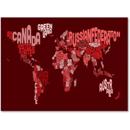 World Text Map 3 by Michael Tompsett work, 14 by 19-Inch Canvas Wall Art [14 by 19-Inch]