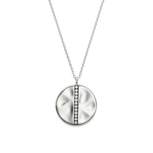 Sterling Silver Glamazon Stardust Large Station Disc Pendant Necklace with Diamonds, 16