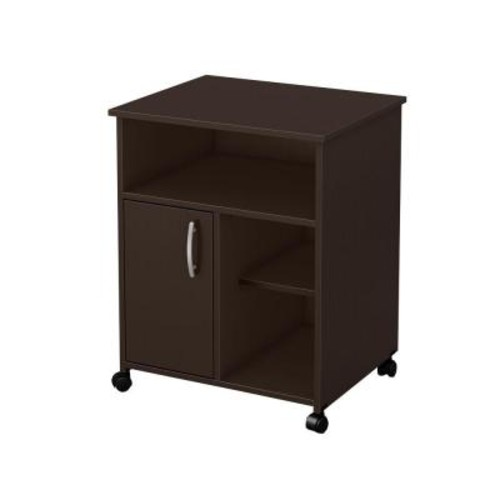 South Shore Axess Microwave Cart with Storage on Wheels, Chocolate