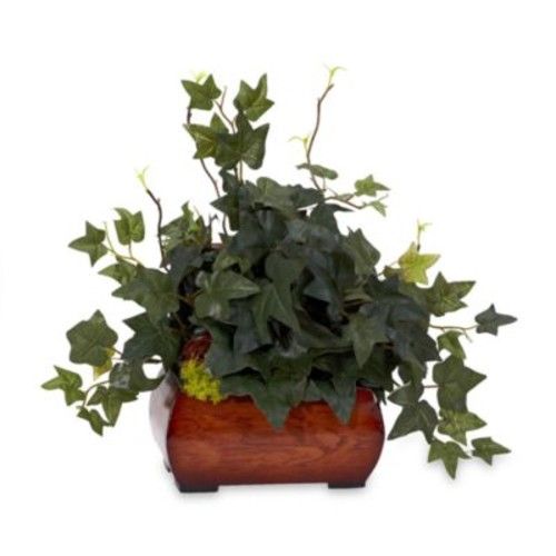 Nearly Natural Silk Puff Ivy Plant w/Chest