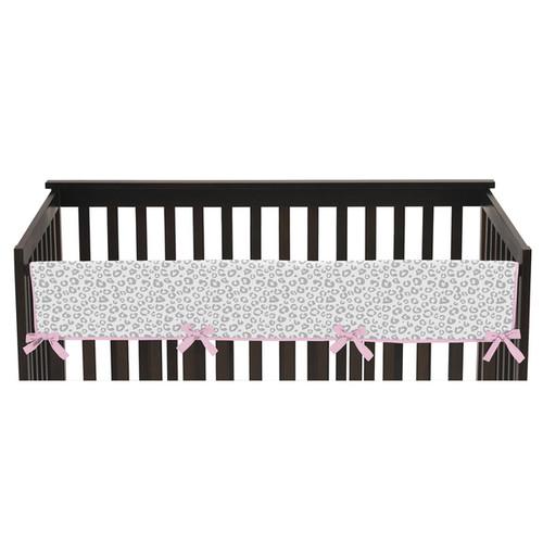 Sweet Jojo Designs Kenya Collection Grey/White/Pink Fabric Long Crib Rail Guard Cover