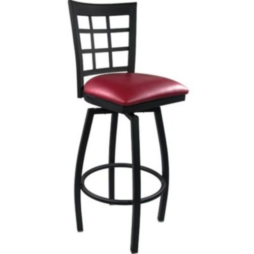 Advantage Window Pane Back Metal Swivel Bar Stool - Burgundy Padded (SBWPB-BFRV-20)