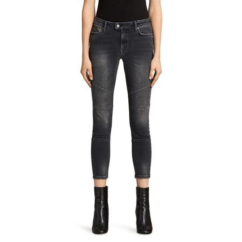 ALLSAINTS Biker Cropped Jeans In Washed Gray