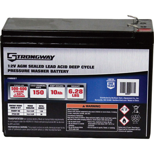 Strongway Deep Cycle Pressure Washer Battery  12 Volt, 10 Ah, Sealed Lead Acid