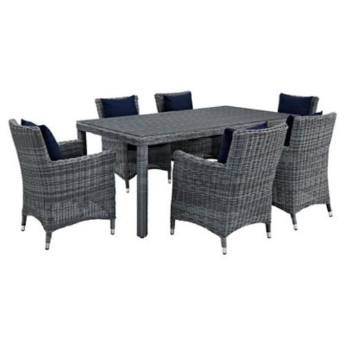 Summon 7pc All-Weather Wicker Round Patio Dining Set & Umbrella with Sumbrella Fabric - Modway