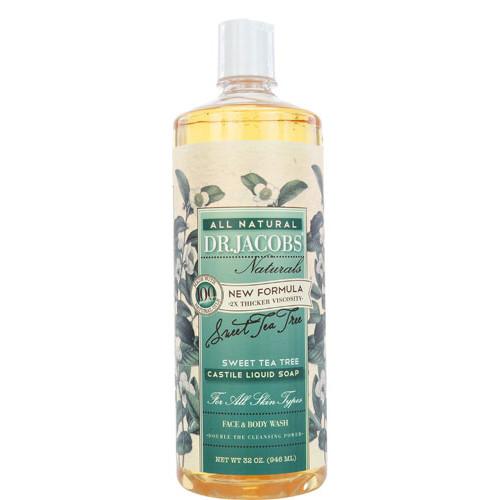 Dr. Jacobs Naturals Castile Liquid Soap Face & Body Wash Sweet Tea Tree -- 16 fl oz