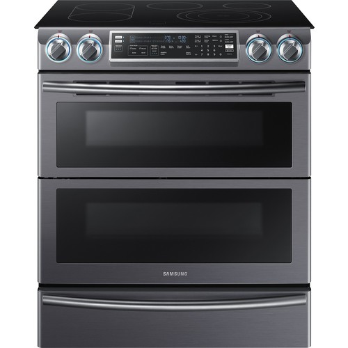 Samsung - 5.8 Cu. Ft. Electric Flex Duo Self-Cleaning Slide-In Smart Range with Convection - Black stainless steel