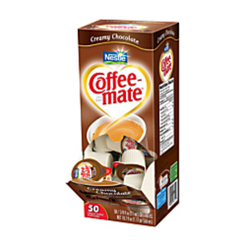 Nestle Coffee-Mate Liquid Creamer Singles, 0.38 Oz, Cafe Mocha, Box Of 50