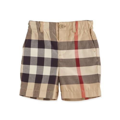 BURBERRY Sean Cotton Check Shorts, Tan, Size 3M-3