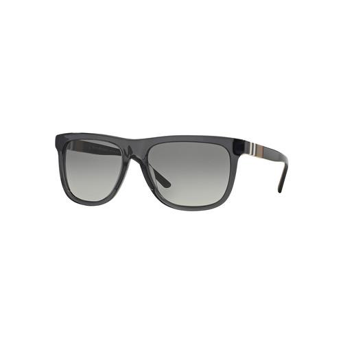 BURBERRY Men'S Rectangular Sunglasses With Check, Gray