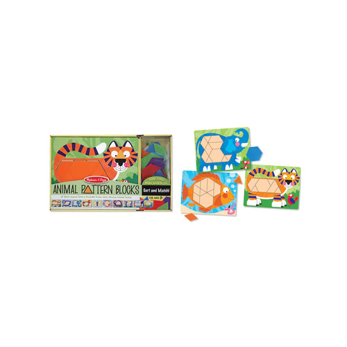 Melissa & Doug Animal Pattern Blocks Set With 5 Double-Sided Wooden Boards and 47 Multi-Shaped Blocks [1]