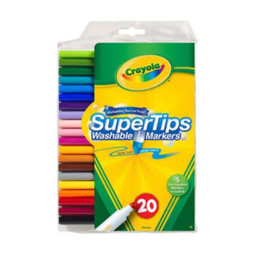 CRAYOLA 588106 CRAYOLA WASHABLE MARKERS SUPER TIPS W/ SILLY SCENT 20 COLORS