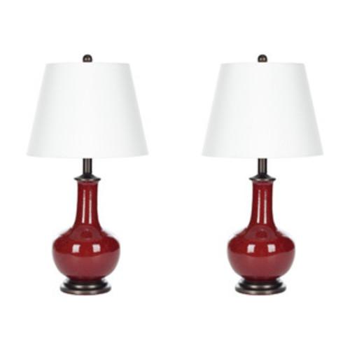 Safavieh Lighting 30.5-inch Mae Long Neck Ceramic Orange Table Lamps (Set of 2)