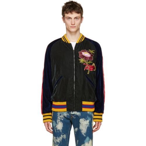 GUCCI Multicolor Velvet Bomber Jacket