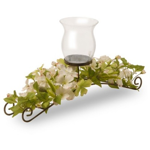 National Tree Company Artificial Dogwood Floral Candle Holder