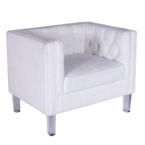 Lumisource Valine Tufted Back Accent Chair in Bone White Mohair Fabric (CH-VALTINA W)