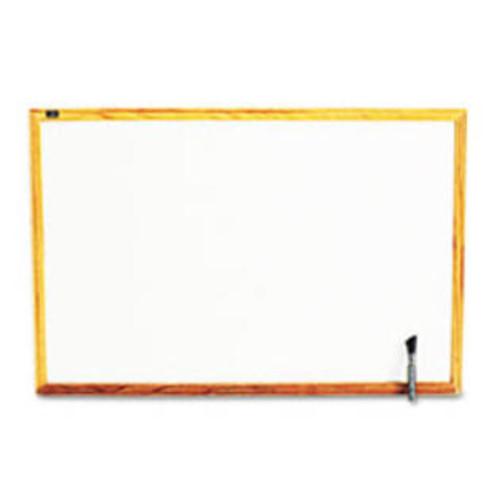 Quartet Standard Dry-Erase Board, Melamine, 36 x 24, White, Oak Finish Wood Fr