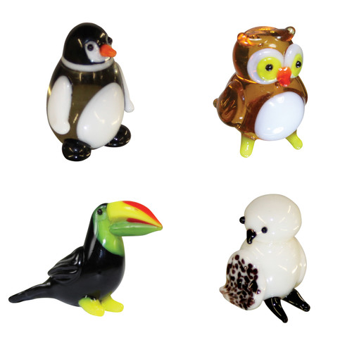 Brainstorm Products Looking Glass Miniature 4 Pack with Penguin Owl Toucan Snow Owl