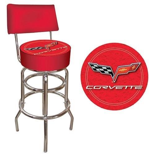 Trademark Global Corvette C6 Padded Bar Stool - Red