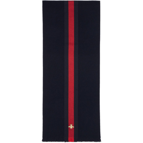 GUCCI Navy Cashmere Web Bee Scarf