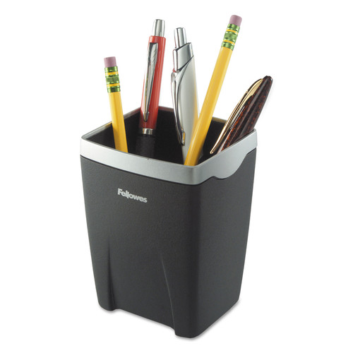 Fellowes FELice Suites Divided Pencil Cup, Plastic, 3 1/16 x 3 1/16 x 4 1/4, Black/Silver