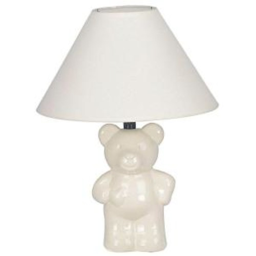 ORE International 13 in. Ceramic Teddy Bear Ivory Lamp
