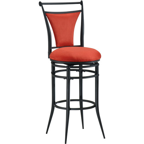 Hillsdale Furniture Cierra 26 in. Black Swivel Cushioned Bar Stool